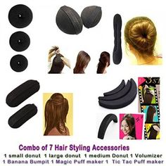 Homeoculture-Combo-of-7-hair-accessories-3-Donuts-1-Magic-Puff-1-volumizer-1-Banana-Bumpit-1-Tictac-Puff-0