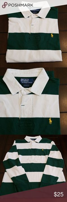 Polo Ralph Lauren custom fit rugby LS medium Polo Ralph Lauren custom fit rugby LS medium. Green and white alternating stripes with a yellow pony. Polo by Ralph Lauren Shirts