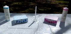 www.thecelebrant4u.com.au Candles lighting at a twins' #naming ceremony and a box for best wishes.