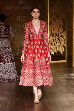 Full sleeves red midi frock by Anita Dongre Indian Gowns, Indian Attire, Pakistani Dresses, Pakistani Suits, Traditional Fashion, Traditional Dresses, Indian Wedding Outfits, Indian Outfits, Anarkali