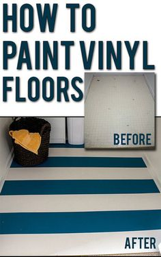 Easy step-by-step instructions for updating dated vinyl floors. Do stripes, stencil a cool design, or just go with a solid color. This is an awesome way to make your vinyl floors look fresh and new on a budget! And the finish is actually pretty durable. Do It Yourself Furniture, Do It Yourself Home, Diy Furniture, Laminate Furniture, Concrete Furniture, Concrete Lamp, Stained Concrete, Antique Furniture, Furniture Design