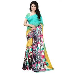 Fashionable Aqua Color Premium Georgette Printed Saree at just Rs.499/- on www.vendorvilla.com. Cash on Delivery, Easy Returns, Lowest Price