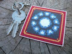 Cross stitch keychain Ironman by MariAnnieArt on Etsy #Crossstitchkeychain #Crossstitch #MariAndAnnieArt