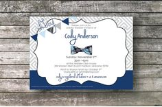This listing is for a navy & grey, bow tie themed baby shower invitation PRINTABLE. Formatted to 7x5.    With the purchase of this listing, youll