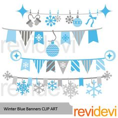 Winter clip art featuring bunting banners in blue grey. You will get 4 graphics. Great for winter theme projects such as for cover and page layout. Also great for newsletter and bulletin decor.Look for set with black and white version? Check hereLink-Winter bunting banners clip artThis digital clipart set is great for teachers and educators.