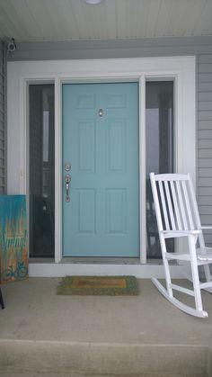 My front door. Sherwin Williams Festoon Aqua.                                                                                                                                                                                 More