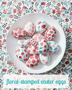 We used easy-to-use rubber floral stamps to give Easter eggs a blooming look inspired by Liberty of London's stunning prints.
