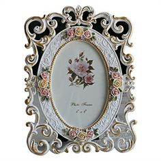 """Picture Frames - 6""""Country Floral Polyresin Picture Frame"""