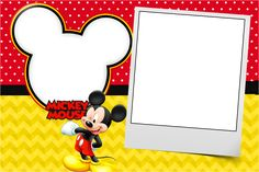 Convite,Moldura e Cartão Mickey: