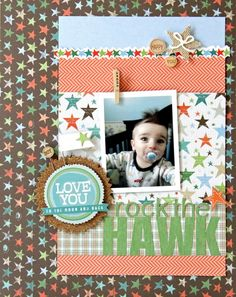 Rock the Hawk + Little Yellow Bicycle & Pagemaps Scrapbook Designs, Scrapbooking Ideas, Scrapbook Layouts, Little Yellow Bicycle, Baby Scrapbook Pages, Page Maps, Picture Layouts, Toddler Photos, O Love