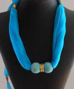 Festival Scarf,  Scarf Jewelry,  Necklace,Turquoise Scarf,Vintage Ceramic Beads,BOHO. Gold plated Ring,Gift for Her,Handmade