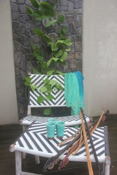 Black and white rattan and teak lay back chair with by TuttiAbode