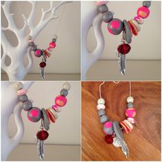 Bright clay statement necklace.  on Etsy, $30.00 AUD