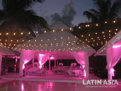 #romantic #pink #ligth up and #twinkle #light @Latin Asia Destination wedding decor