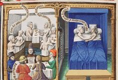 The Hague, MMW, 10 A 11	 fol. 69v     Book 2, 20  Pagan customs: men and women at a meal and in bath; brothel-scene (Viciousness) (1st of 2)  Fol. 69v: column miniature