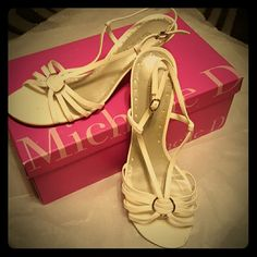 Need Wedding Shoes???!!! Michelle D Patent Heels Perfect for a bride, bridesmaid, Easter, etc. Worn once in a wedding! Great condition! A few scuff marks, but not noticeable. Comes w/box. Michelle D. Shoes Heels