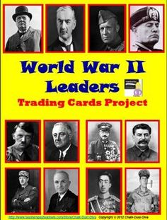This is a fun and interactive project to get your students to learn about the important leaders of World War II. Students will be assigned 3 out of 12 leaders of WWII and create trading cards with important information about their assigned leader. On the due date, the students trade their cards with their assigned group members. All students will end up with 12 leader cards. They can use the cards to study. A review game and quiz are included to check their knowledge about each leader. FUN…