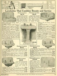Bathroom sinks from 1910 Wards catalog.