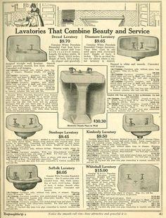Bathroom sinks from 1910 Wards catalog.