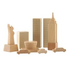 Wooden City Blocks | Project Nursery. City in a bag...love this!