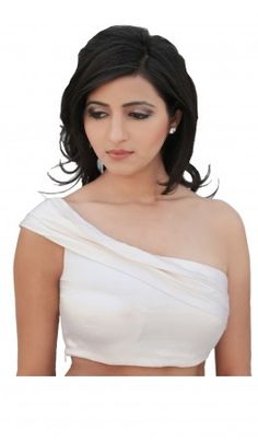 Pleat structured one shoulder Saree Blouse Designs concealed side zip. Recommended for petite to medium body type women. For more detail visit http://www.kbshonline.com/