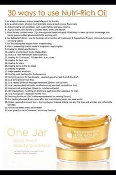 30 ways to use Nutri Rich Oil