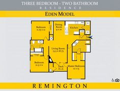 View our floor plan highlight of the week! Walk to shopping and dining at Dulles Town Center from your home! This three bedroom, two bathroom apartment home features abundant storage space, an open-concept living space and a full-sized washer and dryer.  Enjoy fresh air on your cozy deck with the Eden.  Schedule your tour today to view the Eden floor plan with 1,371 square feet in Loudoun County, VA.  #LiveLerner #Loudoun #Apartment #Home