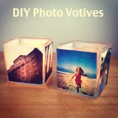 Really great DIY personalized gift. Photo votives!