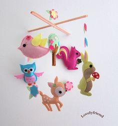"Baby Crib Mobile - Baby Mobile - Felt Mobile - Nursery mobile - "" girly deer"" design (Custom Color Available)"