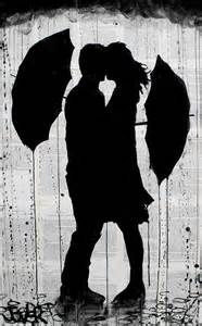 silouette of lady walking in rain with umbrella - Bing images