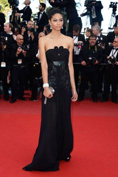 Cleopatra Premiere - Chanel Iman with a Louis Vuitton clutch and David Yurman jewelry