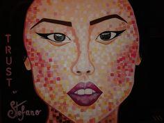 Trust by STEFANO acrylic on canvas fashion art Liu Wen 2014 Liu Wen, Portrait, Fashion Art, Trust, Painting, Canvas, Fictional Characters, Tela, Men Portrait