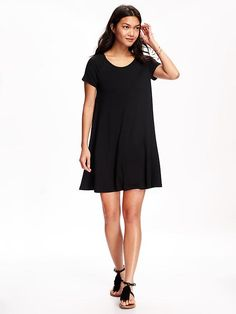 Short Sleeve Knit Swing Dress for Women Product Image