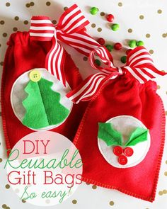 A sewing tutorial for how to make reusable gift bags out of felt.