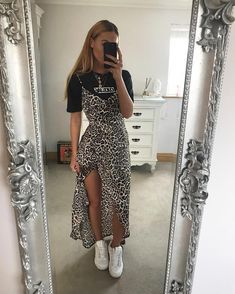 Leopardprint Side Split Maxi-Dress Multi, About Leopardenmuster Side Split Maxi-Kleid Multi Pin You can easily u Mode Outfits, Trendy Outfits, Fashion Outfits, Womens Fashion, Sporty Outfits, Fashion Hats, Fashion Fashion, Latest Fashion, High Fashion