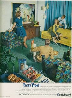 Mid-Century Modern •~• vintage MCM Scotchgard advertisement (Those chairs and lighting! ~ Heather)