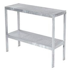 Trädgårdsmöbel bord med hylla varmgalvaniserad stål Varmgalvaniserad hylla med varmgalvaniserad stål och perforerade hål. Teknisk information Yttermått: B