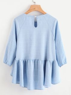 Raglan Sleeve Ruffle Dip Hem Grid Blouse -SheIn(Sheinside) Pants For Women, T Shirts For Women, Hoodies For Sale, Spring Shirts, Blouse Online, Types Of Sleeves, Hijab Fashion, Blouse Designs, Sleeve Styles