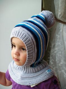 Silver grey Merino Balaclava Baby/ Toddler/ Boy Hoodie hat with Pom Pom in Grey, Blue & White. Size / years - Silver grey Merino Balaclava Baby/ Toddler/ Boy Hoodie hat with Pom Pom in Grey,. Baby Knitting Patterns, Free Knitting, Knitted Balaclava, Knitted Hats Kids, Baby Boy Hats, Hoodie Pattern, Pom Pom Hat, Girl With Hat, Toddler Boys