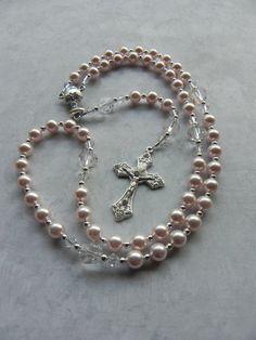 Primera comunión católica rosario niña en cristal de por FaithBeads