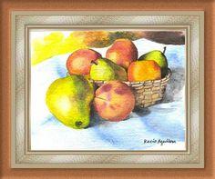canasta con frutas acuarela watercolor