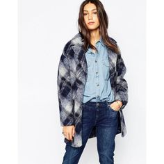 Pepe Jeans Tatller Checked Coat (£140) ❤ liked on Polyvore featuring outerwear, coats, pepe jeans london and faux coat