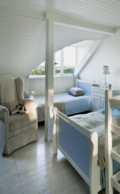 whites and blues in an attic room