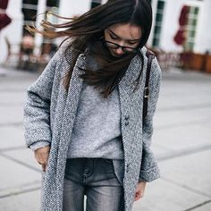 classic grey jacket, sweater and jeans