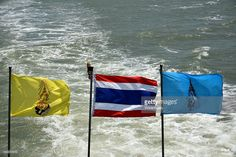The three flags of Thailand, national flag, yellow for the king, blue for the Queen, Koh Phi Phi, Thailand, Asia.  #getty #gettyimages #images #travel #traveling #photo #photography #color #indian #ocean #www.vincent-jary.fr