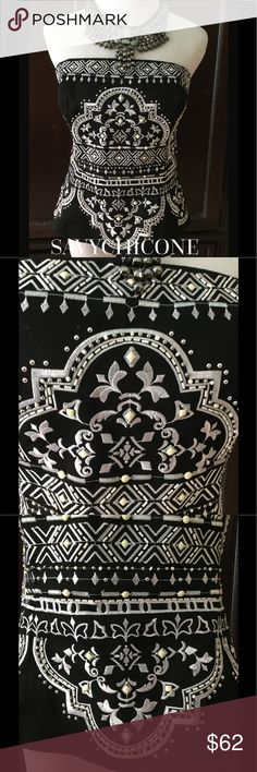 🌻WORN ONCE WHBM EMBELLISHED BUSTIER This fabulous WHBM bustier is embroidered and embellished with beautiful beading.  Comes with straps.  Only worn once. White House Black Market Tops