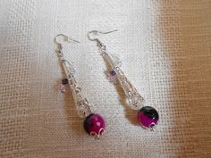 Wire wrapped silver tone filigree Fuchsia pink and by KANDYLEES, $24.00