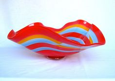 colorful, blown, stripes, bowl, flowy, saturation, reflective
