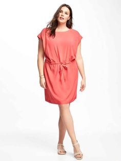 8ba7529bcdf Old Navy Dress NEW NWT Plus Size 4X SPRING 2017 Line Coral Shift Dress Tie  Waist  OldNavy  Shift  Casual BRAND NEW womens dress by OLD NAVY