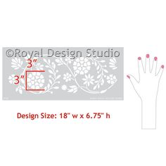 Flower Indian Border Stencil by Royal Design Studio Stencils